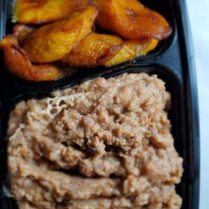 Ewa Aganyin w/ Plantain (Honeybeans with spicy togolaise sauce. Suitable for vegetarians)