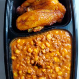 Honey Beans with corn and Plantain