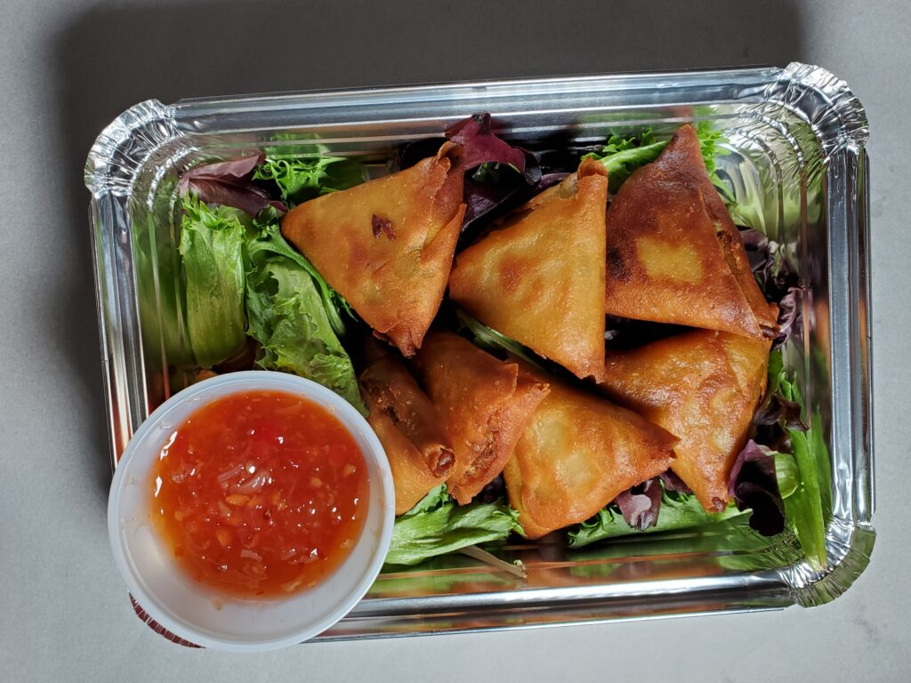 Samosa with red sweet chilli sauce